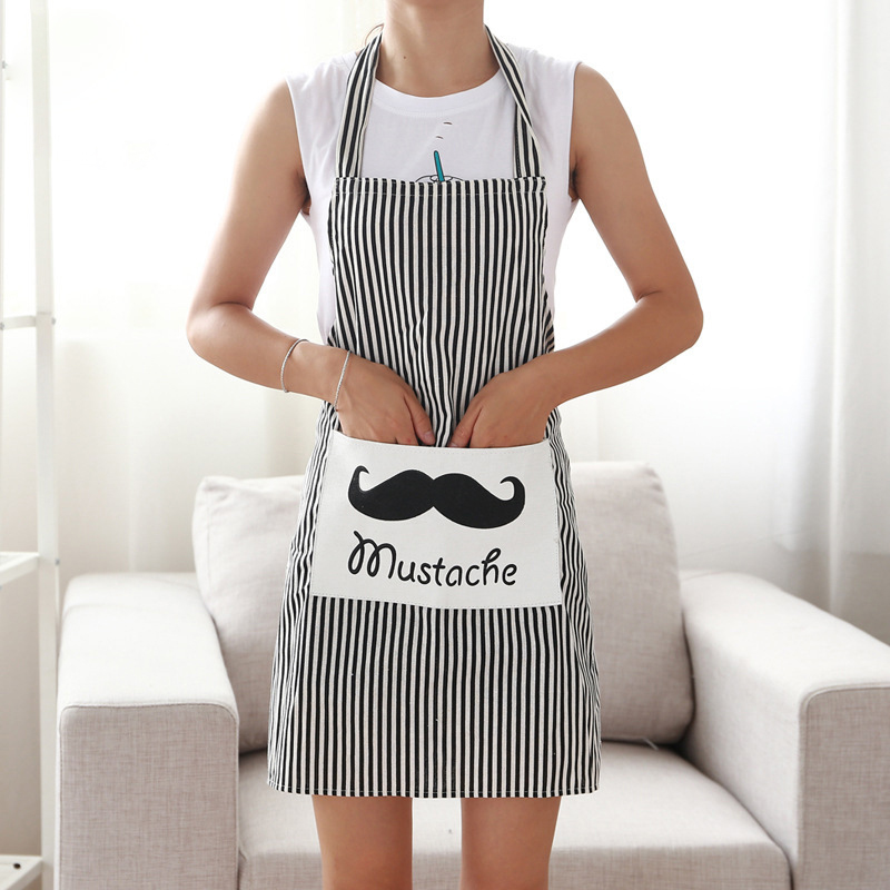 Bavlněné prádlo Nastavitelné zástěry Bib Uniform s velkými kapsami Kadeřnická sada Salon Hair Tool Chef Číšník Kitchen Cook Tool