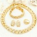 Комплект ювелирных изделий, ожерелье, серьги, браслет, кольцо. Позолоченный медный сплав с кристаллами. Оптовая продажа в Новом Году 2016.