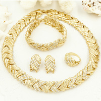 Wholesale 2015 New Pattern Jewelry Sets Necklace Ring Earrings Bangle Dubai African Jewelry Sets Fashion 18K