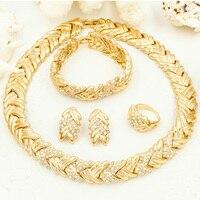 AAAA Positivo Estrelas Conjuntos de Colar Brincos de Jóias Por Atacado Dubai Conjunto de Jóias de Ouro Africano Moda Amarelo Banhado A Ouro Gargantilhas