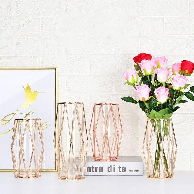 Modern Fashion Champagne Gold Hydroponic Flower Pot Vase Nordic Iron Rose Gold Vase Study Hallway Roon Home Wedding Decoration 4