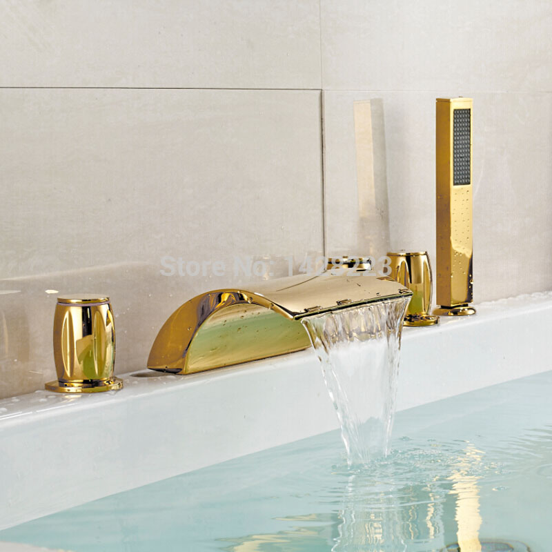 Widespread Deluxe Brass Waterfall Spout Bathtub Mixer Tap Golden Bathroom Tub Faucet 5pcs Set A490 free shipping golden finish led color changing bathroom tub faucet widespread spout mixer tap