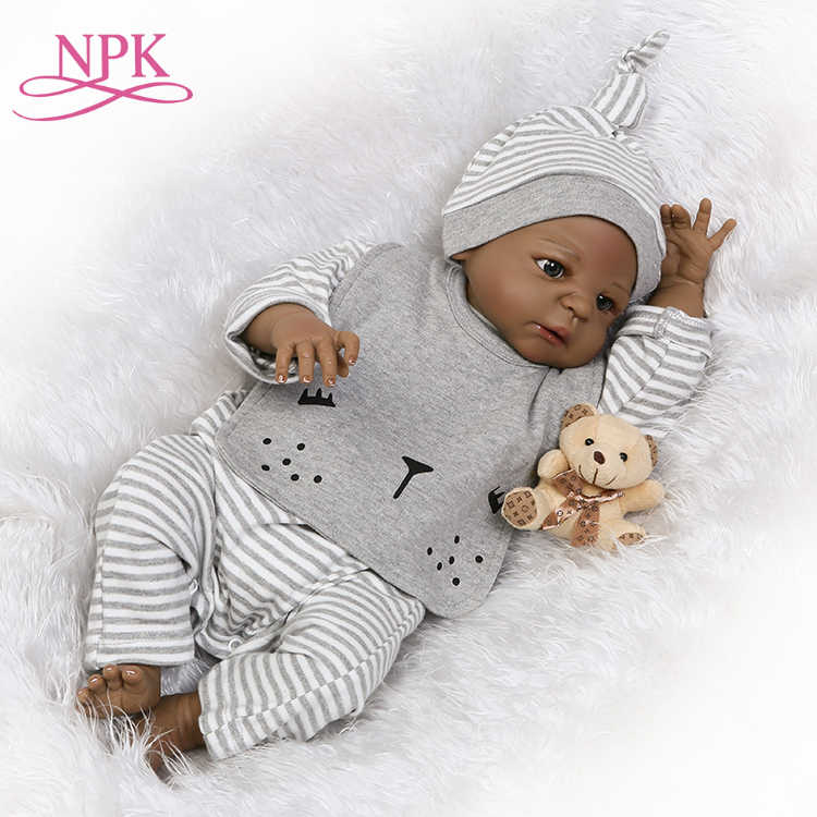 NPK reborn doll with soft real gentle  touch black boy doll with full vinyl body for children's Birthday