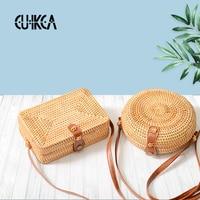 New Arrival Women's Vietnam Pure Handcrafted Cane Single Shoulder Bag Oblique Across Mini Retro Art Weaving Leather Buckle Bag S