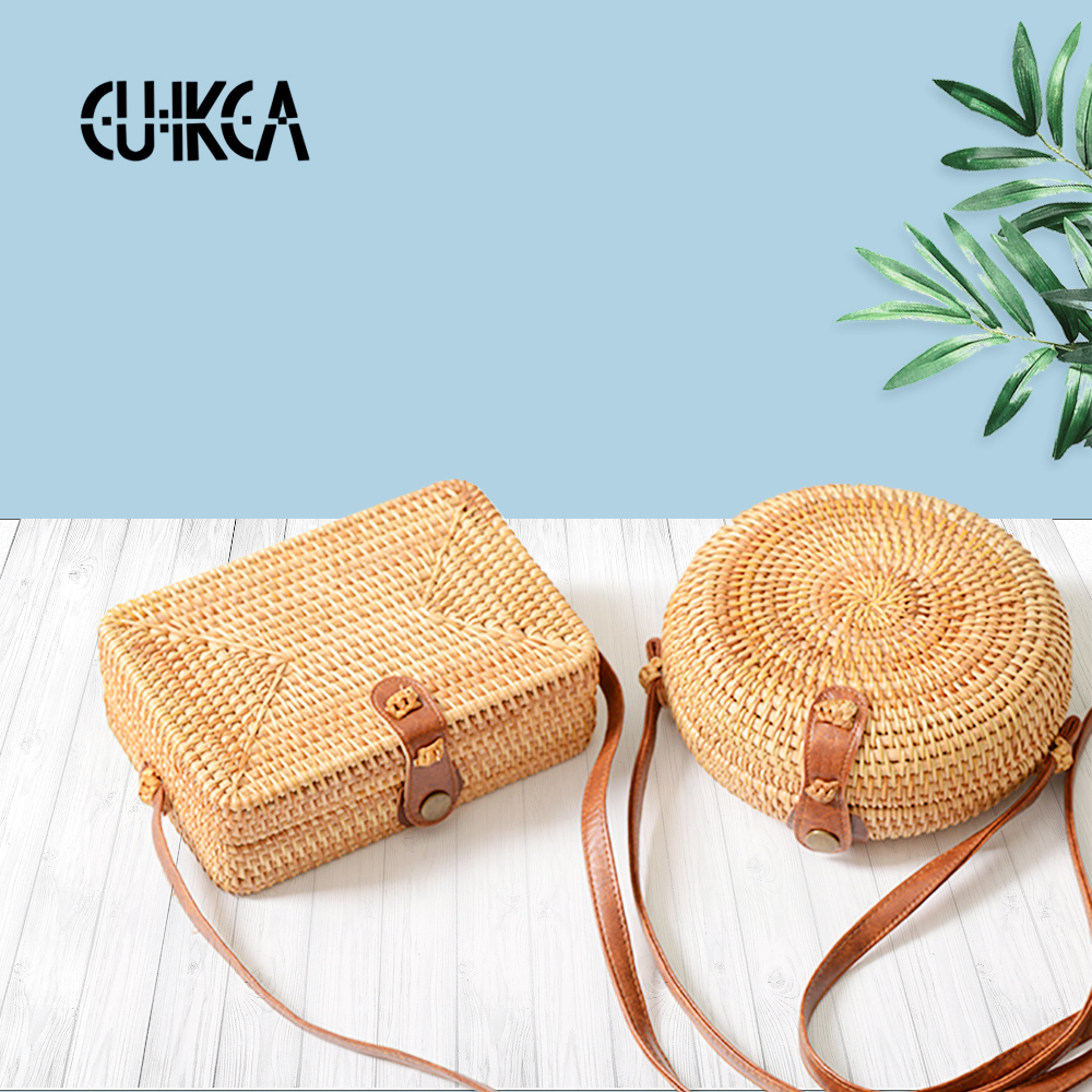 New Arrival Women's Vietnam Pure Handcrafted Cane Single Shoulder Bag Oblique Across Mini Retro Art Weaving Leather Buckle Bag S
