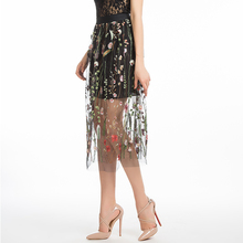 LERFEY Embroidery Flower Midi Skirts Summer High Waist Black Casual Skirt Mesh Tulle Skirt Faldas Mujer Saias New Clothing