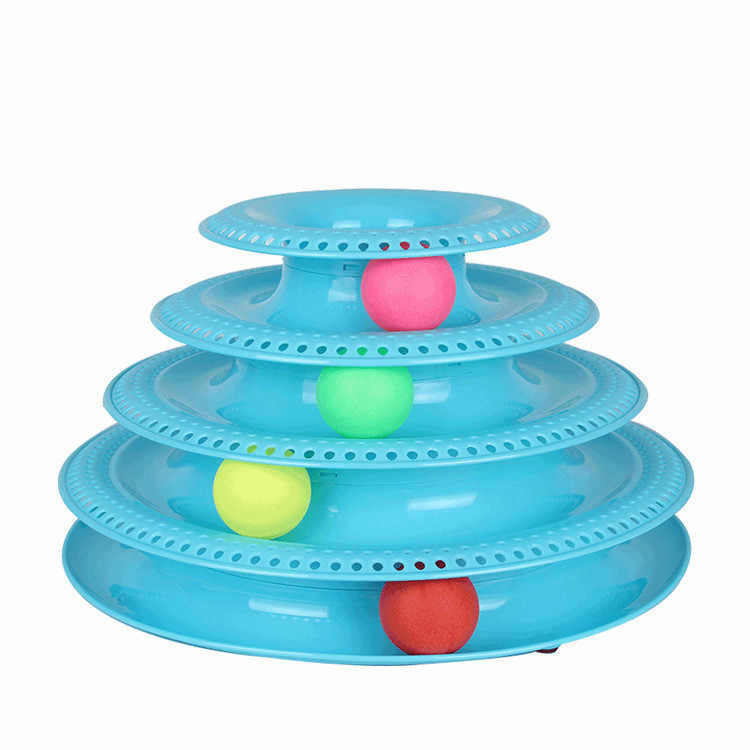 애완 동물 대화 형 장난감 고양이 3 계층/4 계층 턴테이블 애완 동물 지적 트랙 타워 재미 있은 고양이 장난감 접시 3 4 공 4 레벨