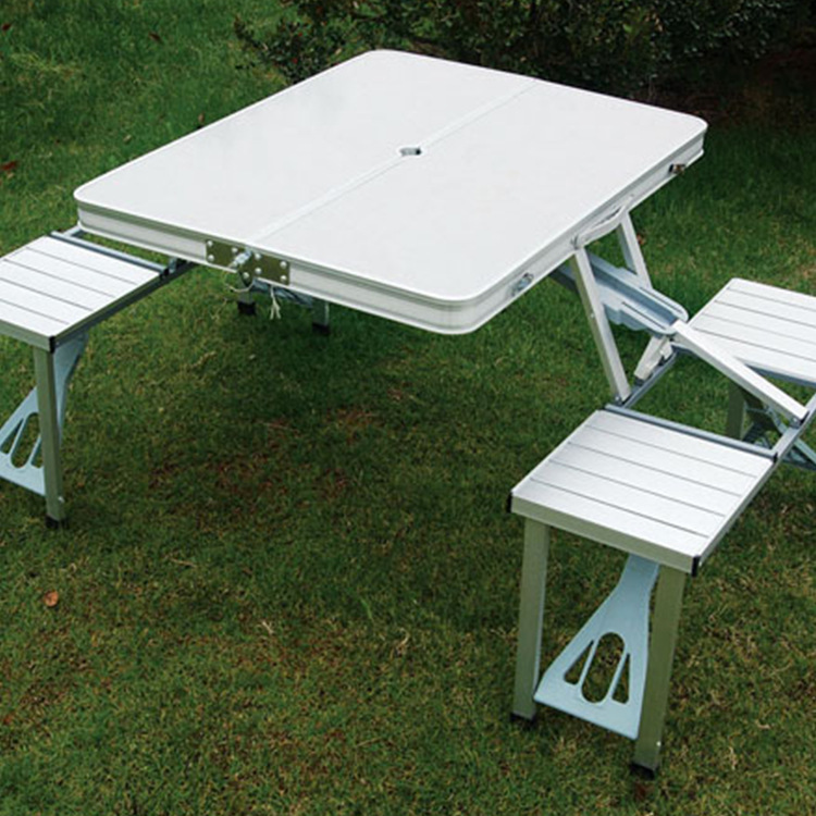 Outdoors Foldable Table Stall Exhibition And Conjoined Tables And Chairs Group Aluminium Alloy Simple And Easy Picnic Table multipurpose foldable outdoor attached table beach tables advertising exhibition table picnic desk