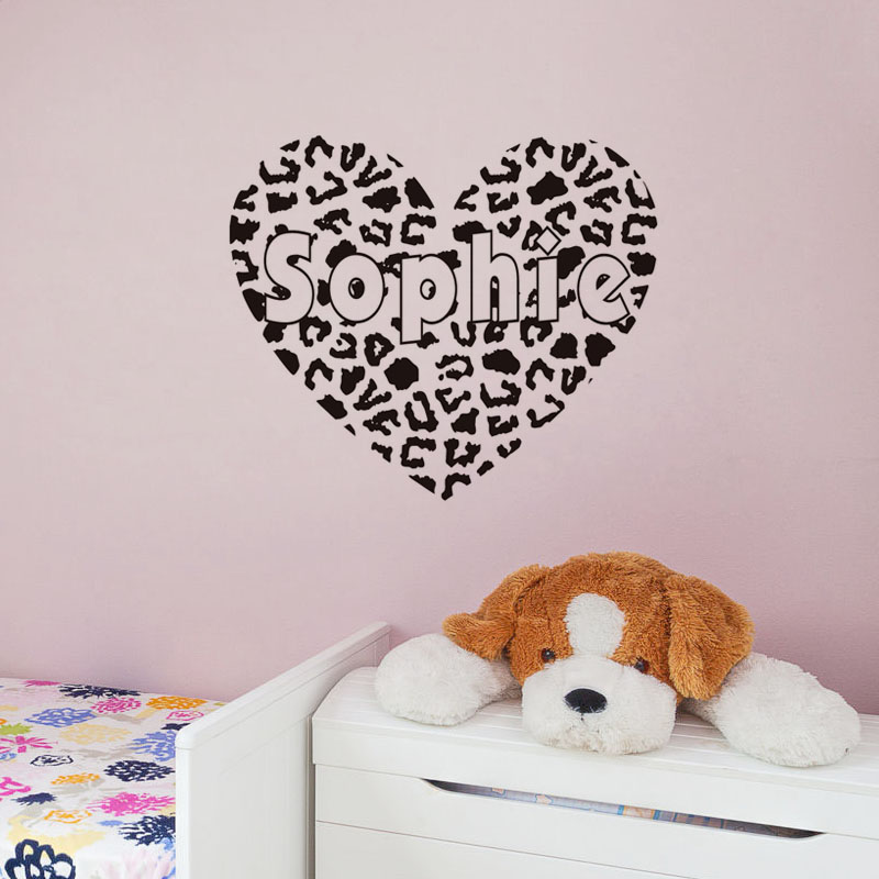 New Arrival Cheetah Print Heart Wall Stickers Art Murals Removable Vinyl  Customized Name Wall Decals Home