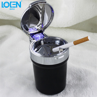 Fashion Exterior Universal Round Car Cigarette Ashtray Blue Color LED Lights Metal Cover Removable Black Bucket