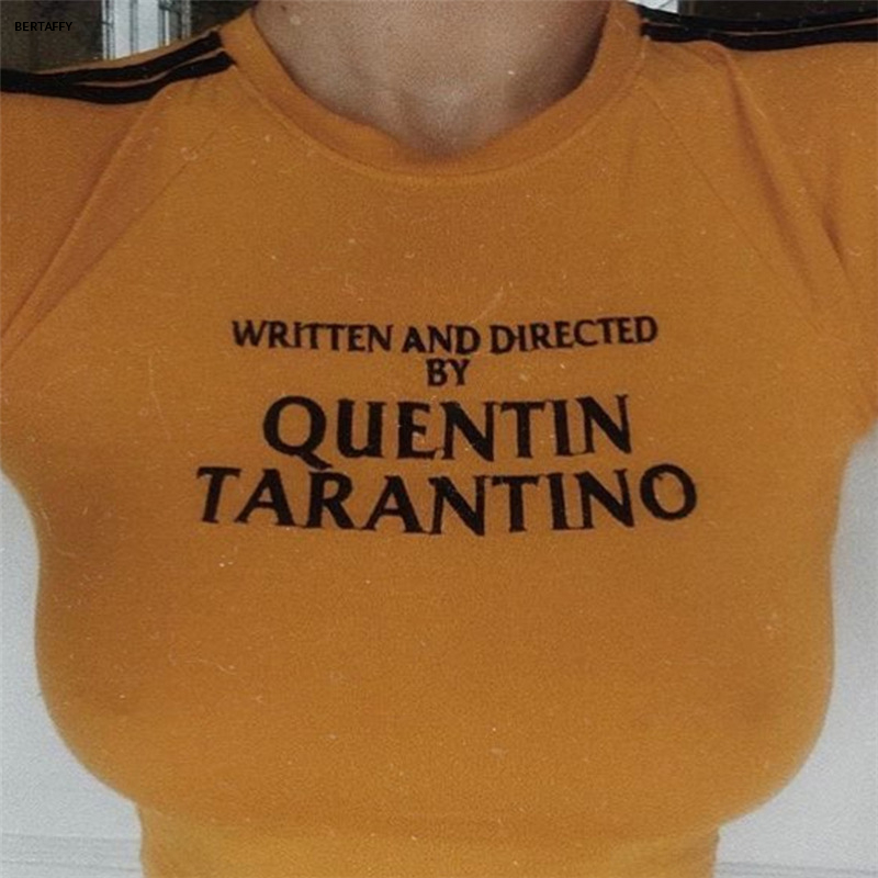 HTB1ltx7XI vK1Rjy0Foq6xIxVXaz - Quentin Tarantino Short T-shirt Yellow Sexy Crop Tops Tumblr Women Grunge Stripe Long Sleeve Cotton Knitted Tees Art Fashion
