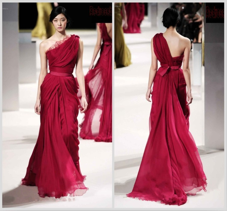 Best Selling Red Chiffon Evening Gown Dress For Prom Wedding/ Dress ...