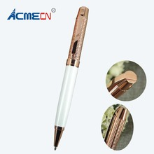 Rose Gold Metal Ballpoint Pen Unique Design Engraving Pattern High Quality Branded Pens for Man's Gifts Popular Fashion Pen1692B 2018 new high quality carved branded ball pen unisex checker pattern white pen luxury 40g rose gold metal heavy pens for writing