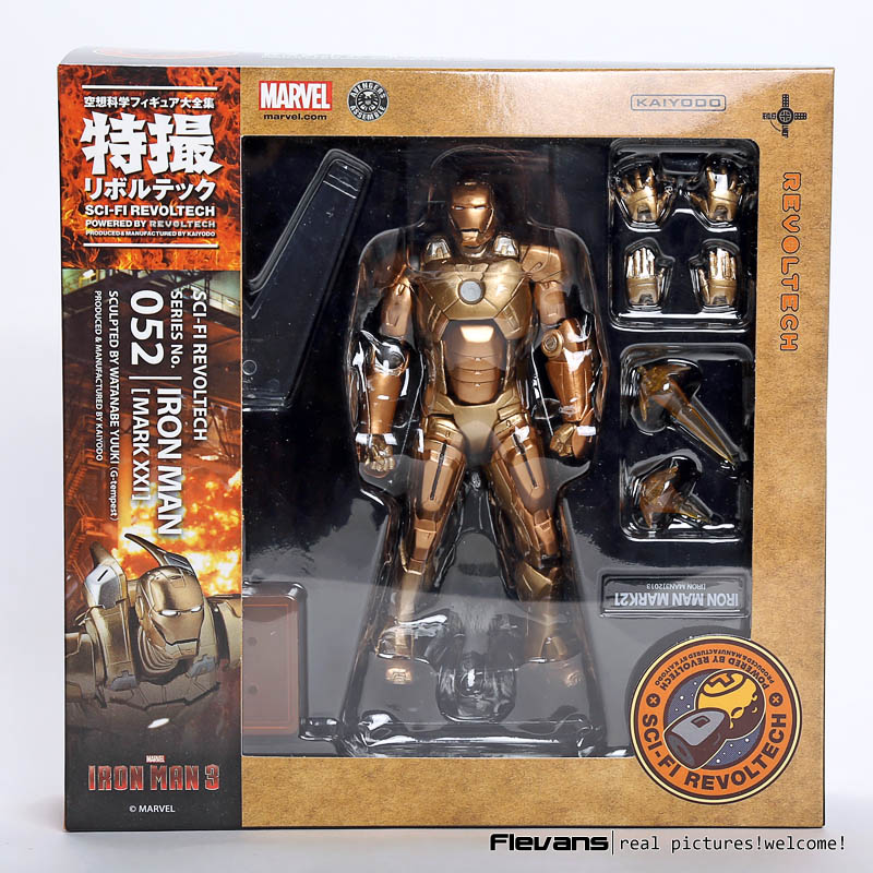 SCI-FI Revoltech Series NO. 052 Iron Man Mark XXI MK 21 PVC Action Figure Collectible Model Toy neca marvel legends venom pvc action figure collectible model toy 7 18cm kt3137