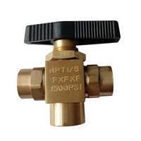 1/8 Female NPT Brass 3 way Instrument Ball Valve 1500 psi BV4 1/8