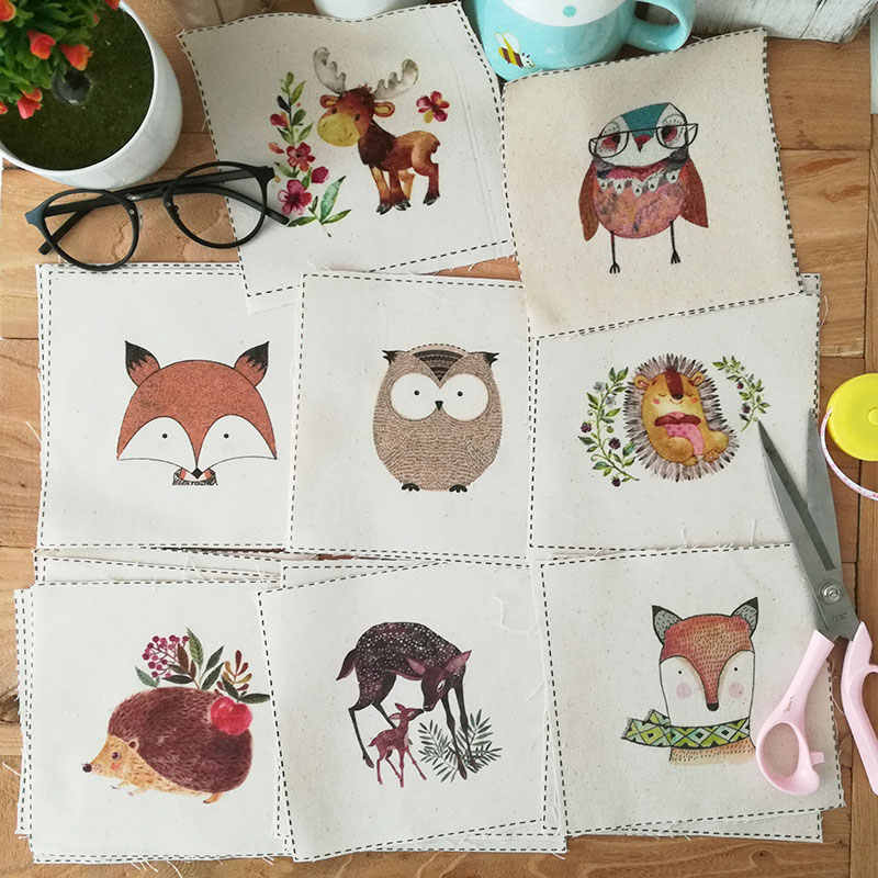 ZENGIA Fox/Llama/oso tejido teñido a mano DIY costura Animal impreso algodón Lino tela tellas Patchwork para bolsa decoración/15x15 cm
