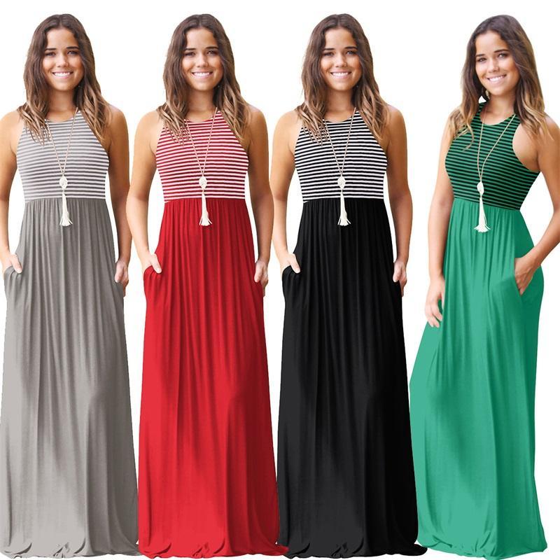 2018 Summer Women Casual O-Neck Sleeveless Long Maxi Party Dress Plus Size Female Elegant Bodycon Stripe Beach Dress for Ladies