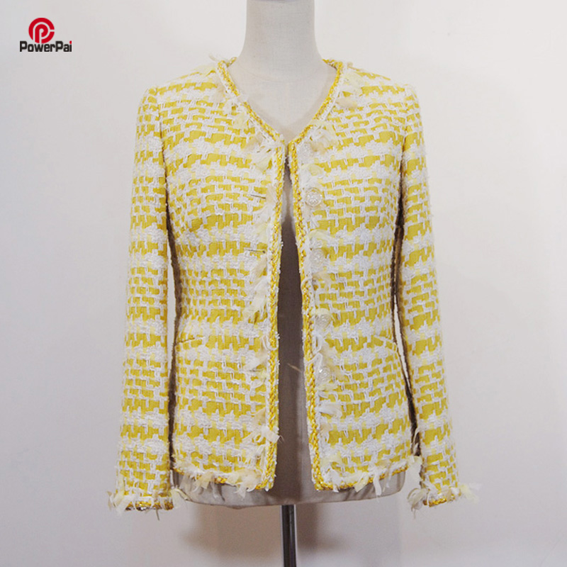 Delicate Handtailor Light yellow white Tweed Jacket Trimmed Slim V Collar Coat Personal Custom Women Spring