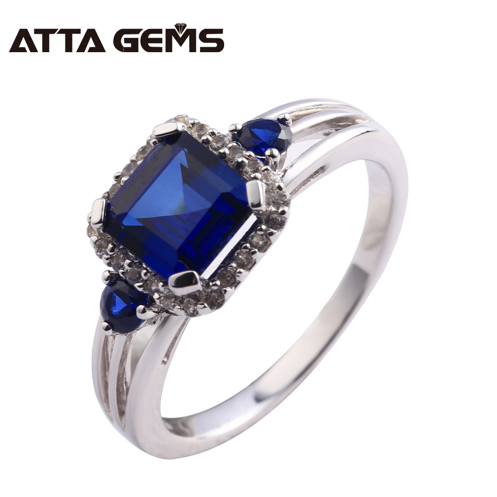 Blue Sapphire Silver Ring For Women 3 Carats Created Sapphire Romantic Elegant Style For Office Ladies Fine Jewelry Top Quality blue sapphire silver bracelet for women tennis bracelet wedding party 15 carats 45 pieces created blue sapphire luxury style