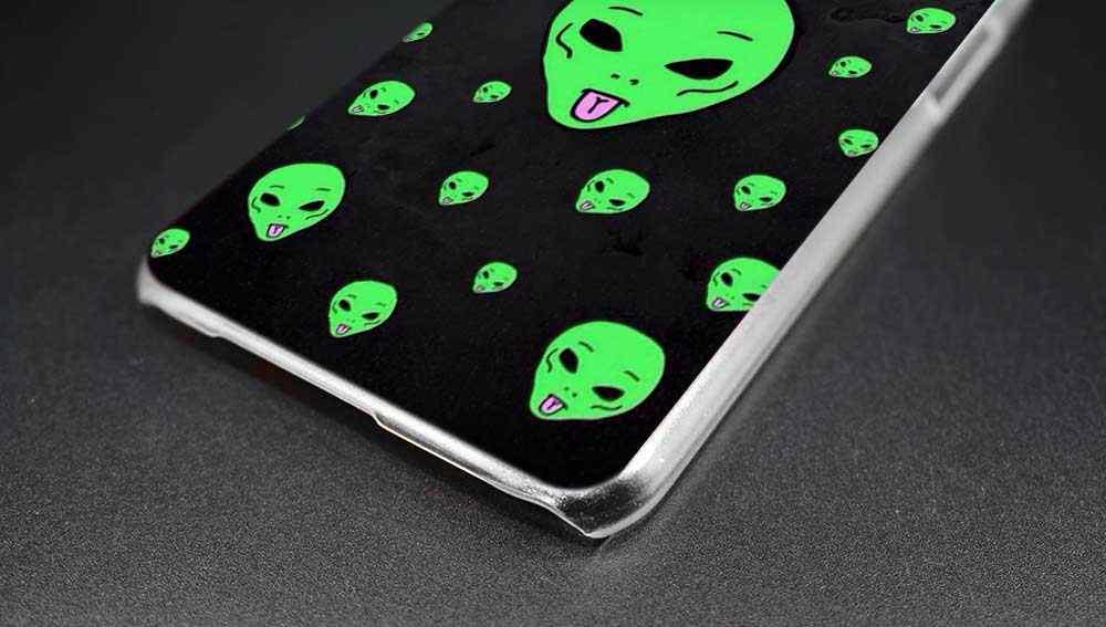 Sheli Trippy Alien emoji Hard Phone Case for Samsung Galaxy J1 J2 J3 J4 J5  J6 J7 J8 2015 2016 2017 2018 J7 Prime j4 Plus Ace
