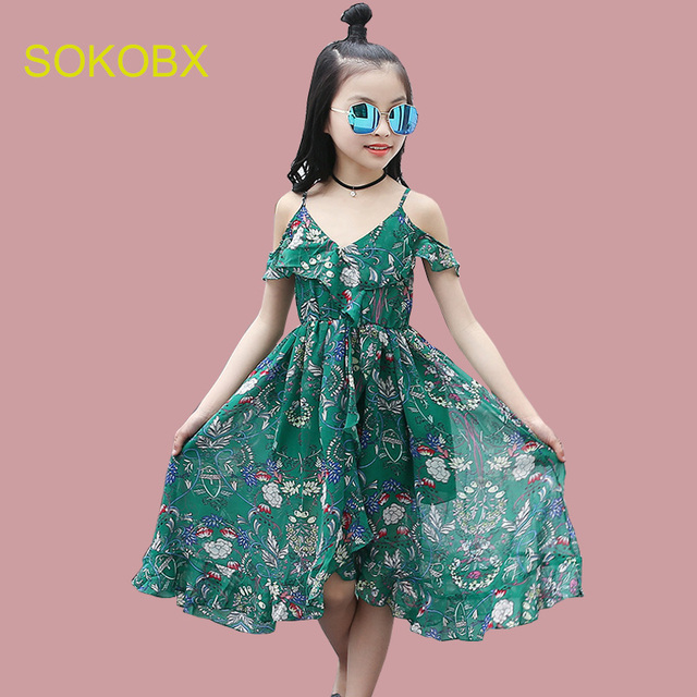 ea0891726d3 Girls Dress Bohemia Style Dresses Girls Sleeveless Floral Dress For  Adolescents 8 10 12 Big Kids Girls Clothes