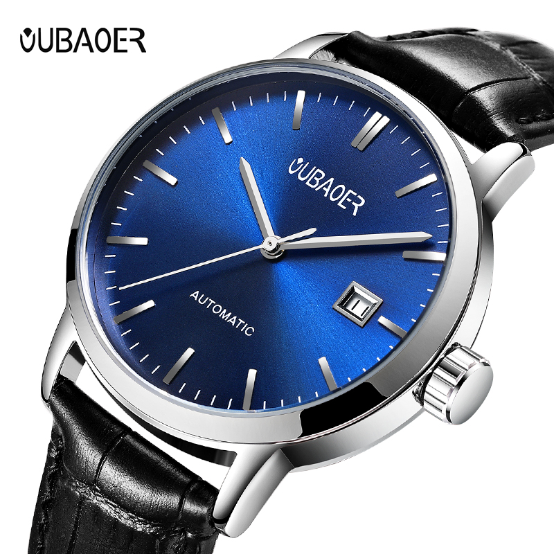 цена на Men's watches OUBAOER automatic mechanical watch leather clock casual business watch top brand sports watch relogio masculino