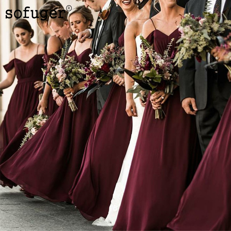 Burgundy Chiffon Sweetheart Summer Beach Off The ShoulerSpecial Occasion Bridesmaid Dresses Formal Vestidos Wedding Party Dress in Bridesmaid Dresses from Weddings Events