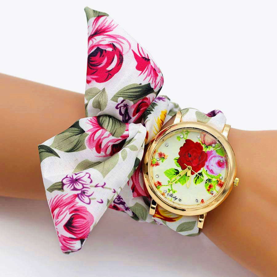 Shsby 2018 New Women Watch Luxury Brand Casual Flower Quartz Clock For Women Floral Cloth Wrist Watch Reloj Mujer Drop ShippingShsby 2018 New Women Watch Luxury Brand Casual Flower Quartz Clock For Women Floral Cloth Wrist Watch Reloj Mujer Drop Shipping