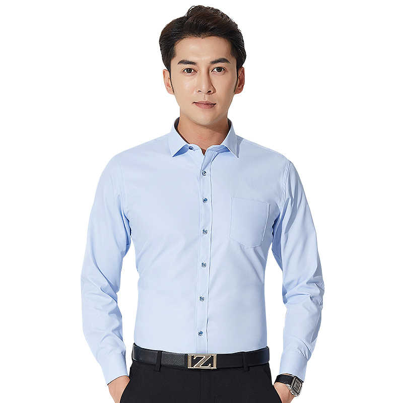 2019 Fashion Mens Shirts Stretch Anti-wrinkle Casual Work Shirt Men Fit Solid Business Streetwear Male Printing Shirt Chemise Ho