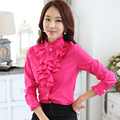 Fashion female full sleeve women casual shirt office elegant Rose ruffled collar blouse ladies tops autumn wear