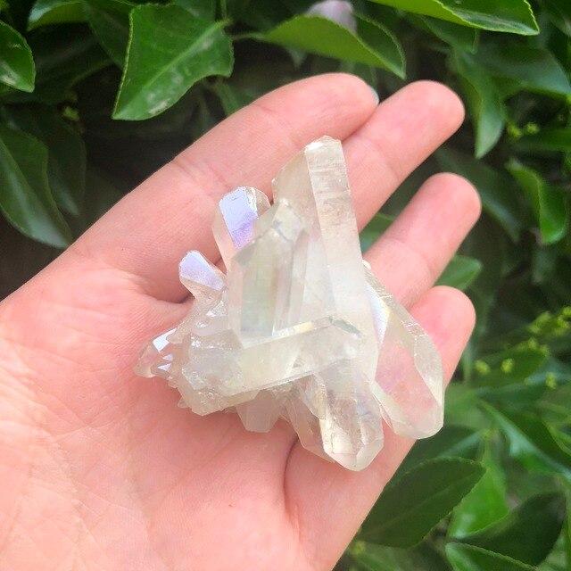 1 PCS הילה קריסטל אשכול לבן מלאך הילת טיטניום קוורץ קריסטל מדהים קשת דגימת מינרלים רייקי ריפוי צ 'אקרת בית