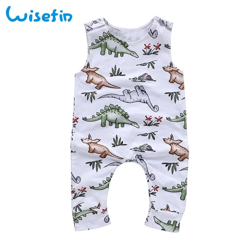 Babykleding Print.Wisefin Baby Rompertjes Zomer Stijl Dinosaurus Print Wit Pasgeboren