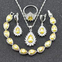 Bán Hot Bạc Màu Vàng Cubic Zircon 925 Tem Trang Sức Thiết Cho Phụ Nữ Bracelet Necklace Earrings Nhẫn mặt dây chuyền B24