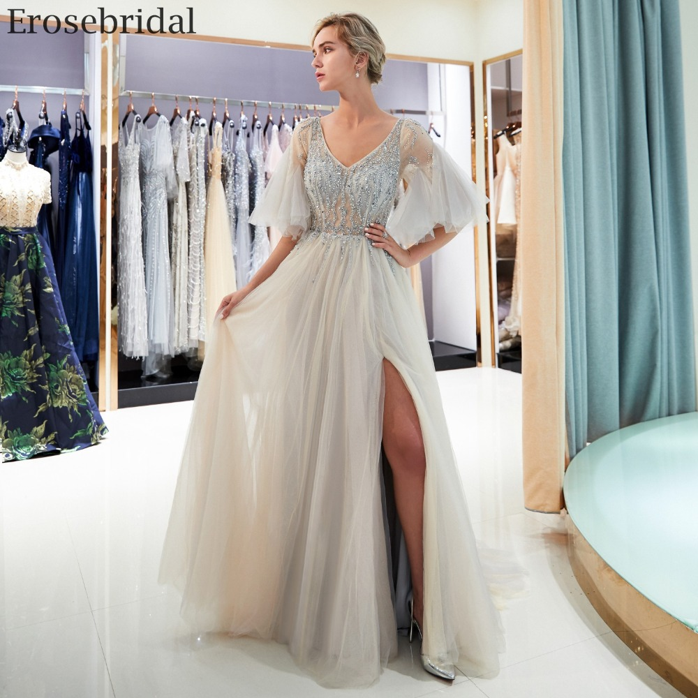 7ad545605a927 US $159.6 5% OFF|Erosebridal Illusion Bodice Prom Dress 2018 Long Sext  Front Split A Line Formal Women Evening Wear with Sweep Train-in Prom  Dresses ...