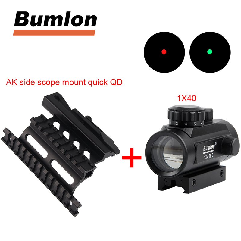 Tactical Holographic 1x40mm Red Green Dot Optic Sight + AK Serie Rail Side Mount Quick QD Style 20mm Detach Weaver Rail
