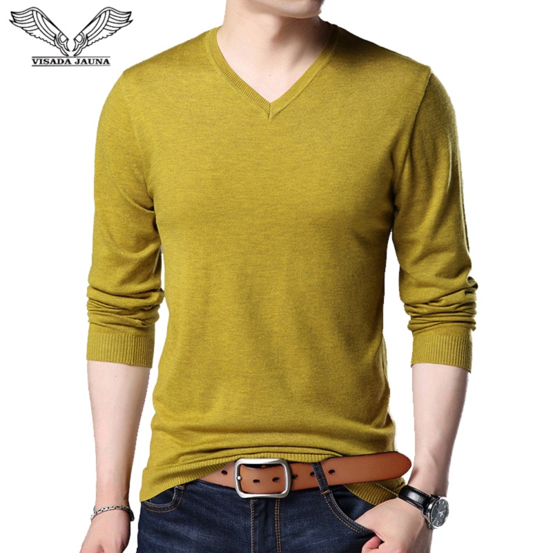 VISADA JAUNA Hombres Pullover O-neck Slim Fit Knitting Hombres Long Sleeve Sweaters Fashion V-neck Mens Sweaters Big Size N5870