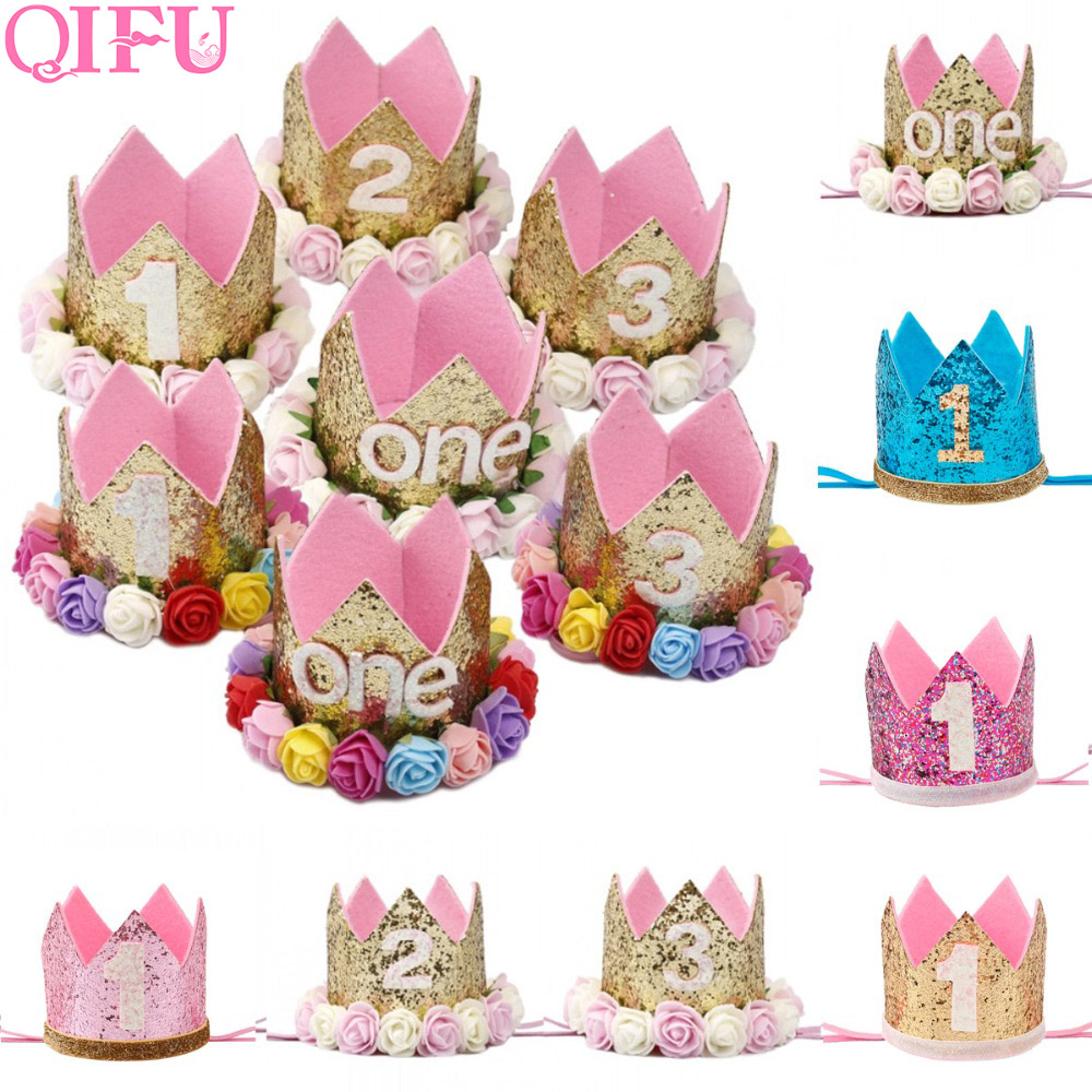 QIFU Gold Silver First Birthday Girl Party Crown Pink 1st 1 Year Decorations Happy