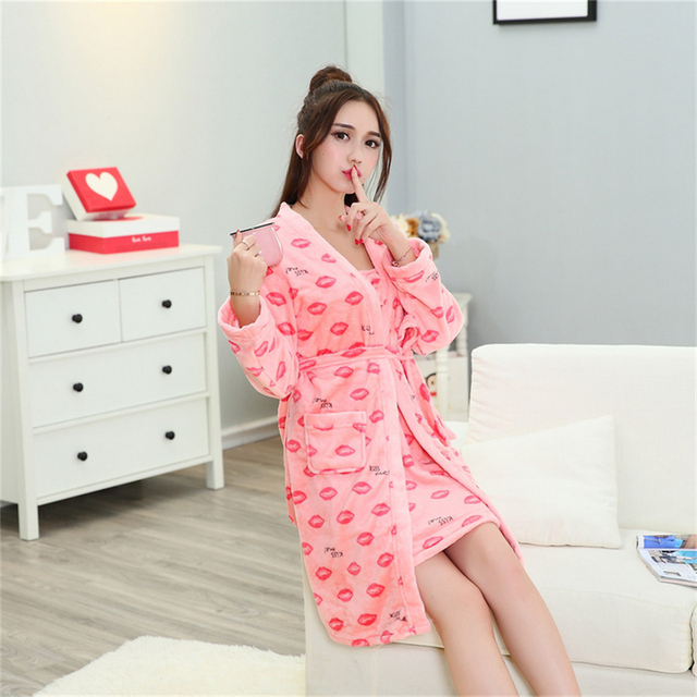 winter Lip print Flannel pajamas Long sleeves Nightgown Sling skirt Home service Coral cashmere robe Bathrobes Two-piece suit