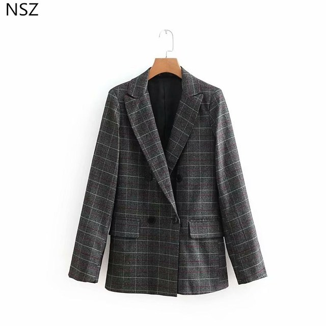 NSZ Women Wool Blazer Autumn 2018 New Long Sleeve Double Breasted Coat Jacket Outerwear