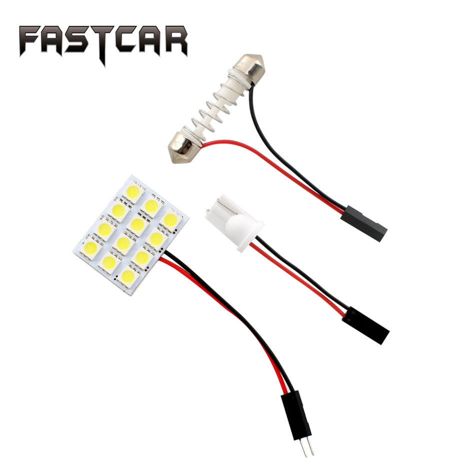 10pcs T10 BA9S Festoon 2 Adapters 12 SMD 5050 Led White Light 12V LED Reading Panel Car Interior Dome light