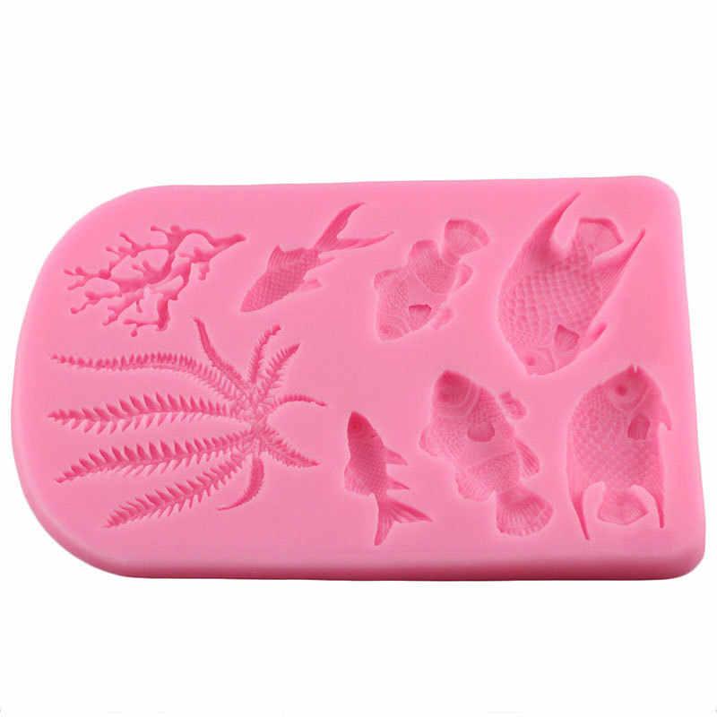 ثلاثية الأبعاد تصميم البحر المرجان الأعشاب البحرية قالب من السيليكون الأسماك DIY بها بنفسك كب كيك الخبز فندان أدوات تزيين الكعكة الشوكولاته قالب الطين الحلوى