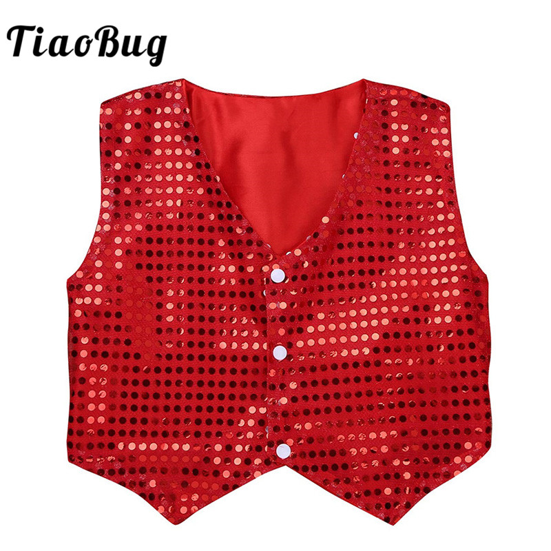 Boys Girls Kid Sequined Vest Waistcoat Dance Party Choir Jazz Stage Performance