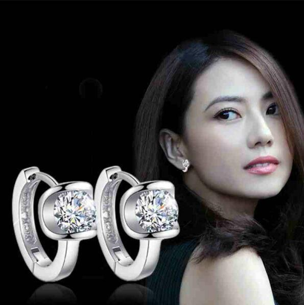 ey772 Temperament New listing Bohemian geometric U-shaped crystal zircon angel kiss fashion Female charm earrings jewelry