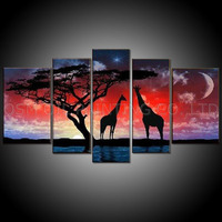 Top Artist Handmade High Quality Group Abstract Landscape Oil Painting on Canvas Funny Animal Giraffe Oil Painting for Wall Art