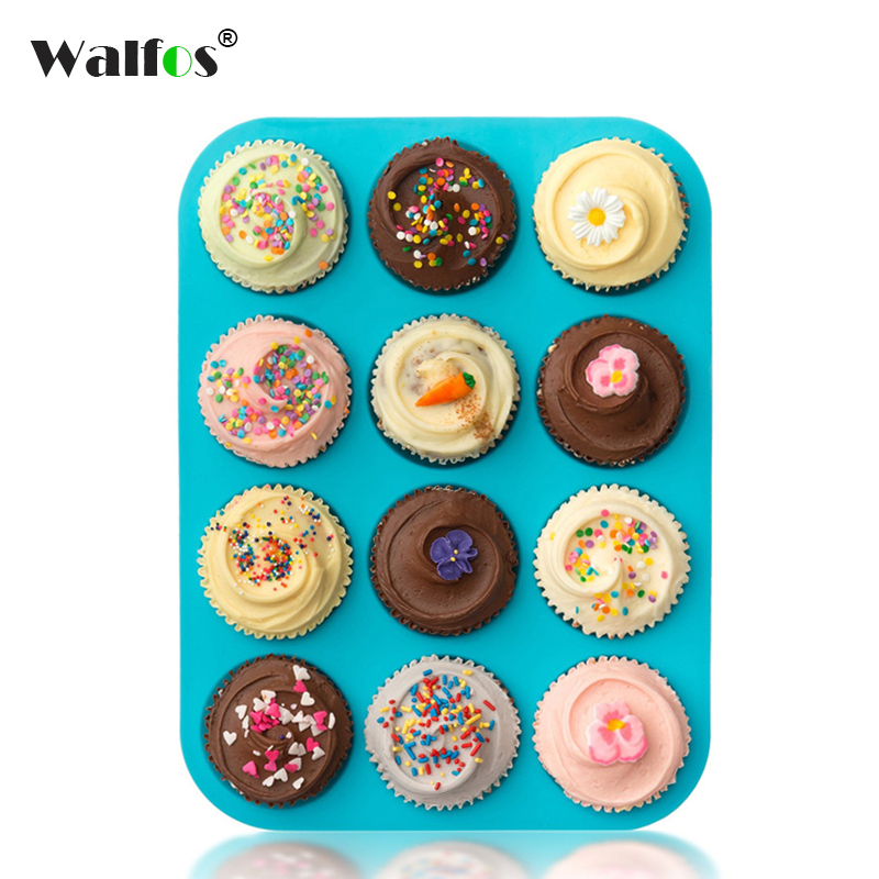 Walfos food grade Thick 12 Cup Silicone Muffin pan &Cupcake Baking Pan Non-Stick silicone cake mold round Mini Muffin Pan form