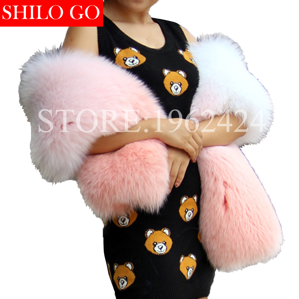 Plus Size Free Shipping 2020 Winter New Fashion Women High-quality Gradient Peach Pink White Fox Fur Skin Scarf Shawl&party Show
