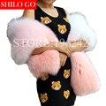 Plus size o envio gratuito de 2017 de inverno novas mulheres da moda de alta qualidade gradiente rosa pêssego branco de pele de raposa pele cachecol xale & a festa de apresentação de