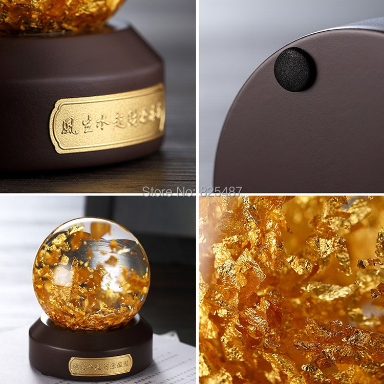 Luxury 24K Gold Flakes Snow Ball Glass Feng Shui Ball Best Wealthy Business Gift Taiwan Made Glass Globe With Gift Box - 4