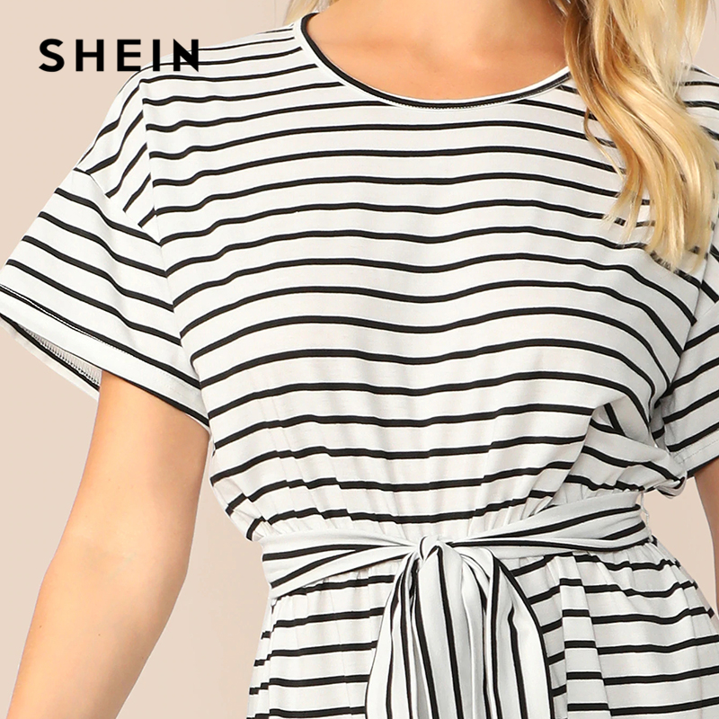Women Short Sleeves Round Neck Stripes Summer Casual Long Wide Legs Jumpsuit