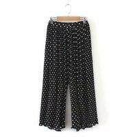 Plus size polka dot pants women's summer pleated wide legged trousers
